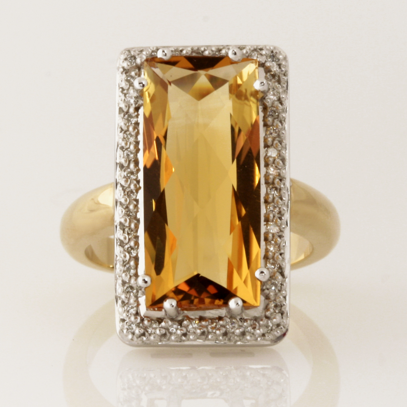 "R094 9ct yellow and white gold ladies dress ring featuring a 20mm x 9mm multi facet top Citrine and 0.21cts of diamonds. Size ""P"" $1225"