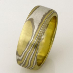 Handmade gents 18ct white and green gold and sterling silver Mokume Gane wedding ring