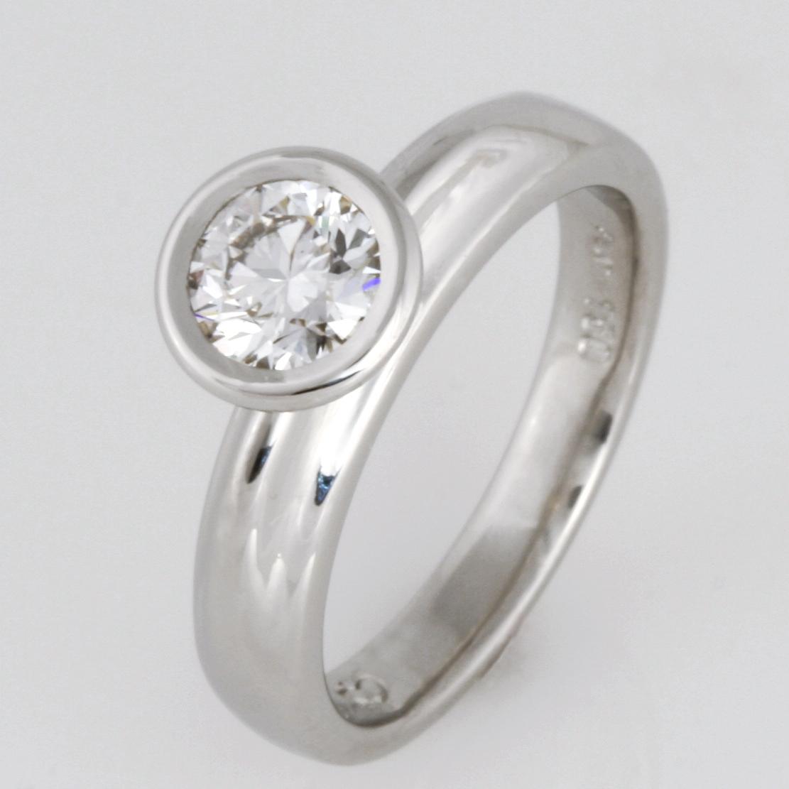 Handmade ladies platinum and 18ct yellow gold White Argyle Diamond engagement ring
