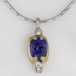 Handmade ladies 18ct yellow gold and palladium Tanzanite and diamond pendant