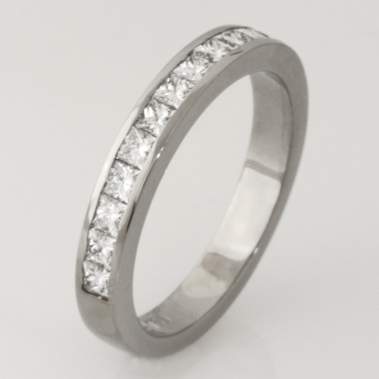 Handmade 18ct white gold princess cut diamond eternity ring