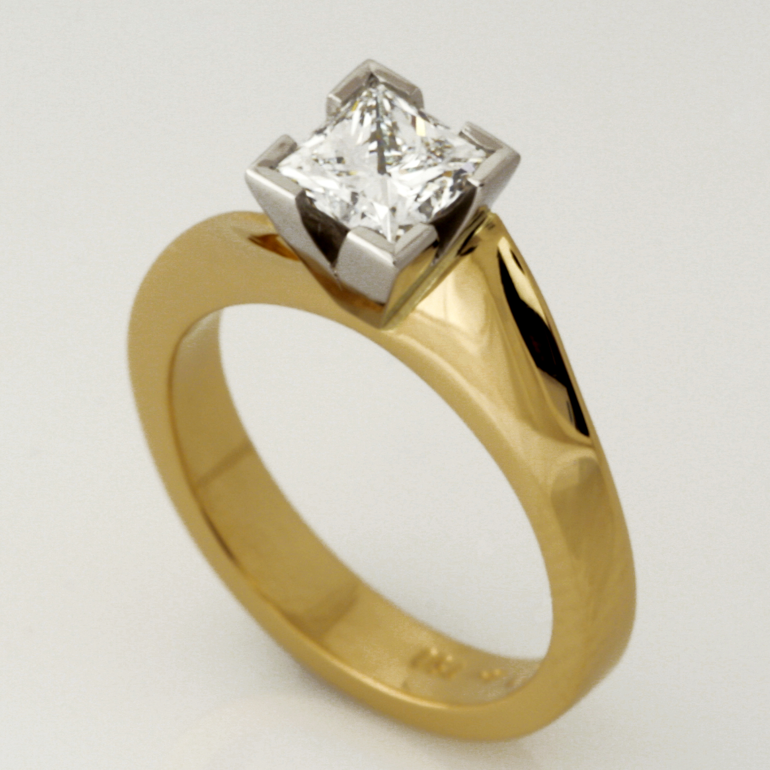 Handmade ladies 18ct yellow gold and platinum princess cut diamond engagment ring