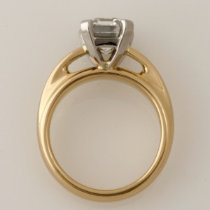 Handmade ladies 18ct yellow gold and platinum ring featuring an emerald cut 2.12ct diamond