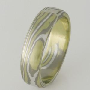 Handmade gents 18ct green, white and sterling silver Mokume Gane wedding ring.