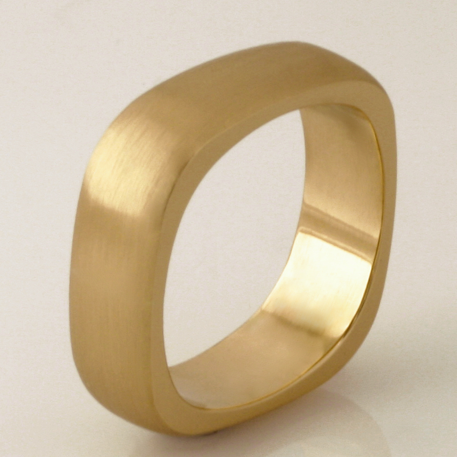 Handmade gents 18ct yellow gold square wedding ring
