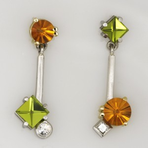 Handmade 18ct yellow gold and palladium earrings featuring 'Context' cut peridots, 'Spirit' cut citrines and diamonds