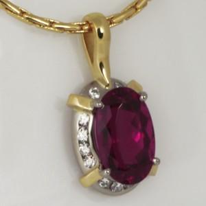 Handmade ladies 18ct yellow and white gold pink tourmaline and diamond pendant