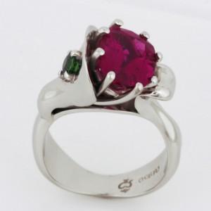 Handmade ladies palladium rubellite tourmaline and tsavourite garnet Bonsai Ring