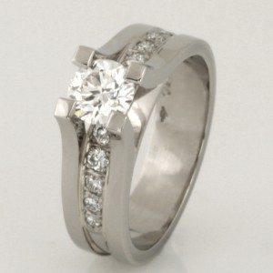 Handmade ladies palladium Eight Star Diamond engagement ring