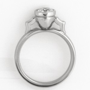 Handmade ladies palladium engagement ring featuring an Australian Argyle white diamond