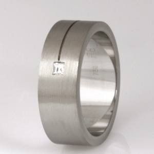 Handmade gents 18ct white gold 'Tycoon cut' diamond wedding ring