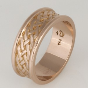 Handmade gents 18ct rose gold carved wedding ring