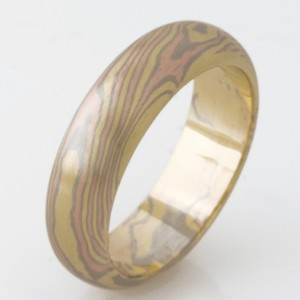 Handmade 18ct yellow, rose and white gold Mokume Gane gents wedding ring