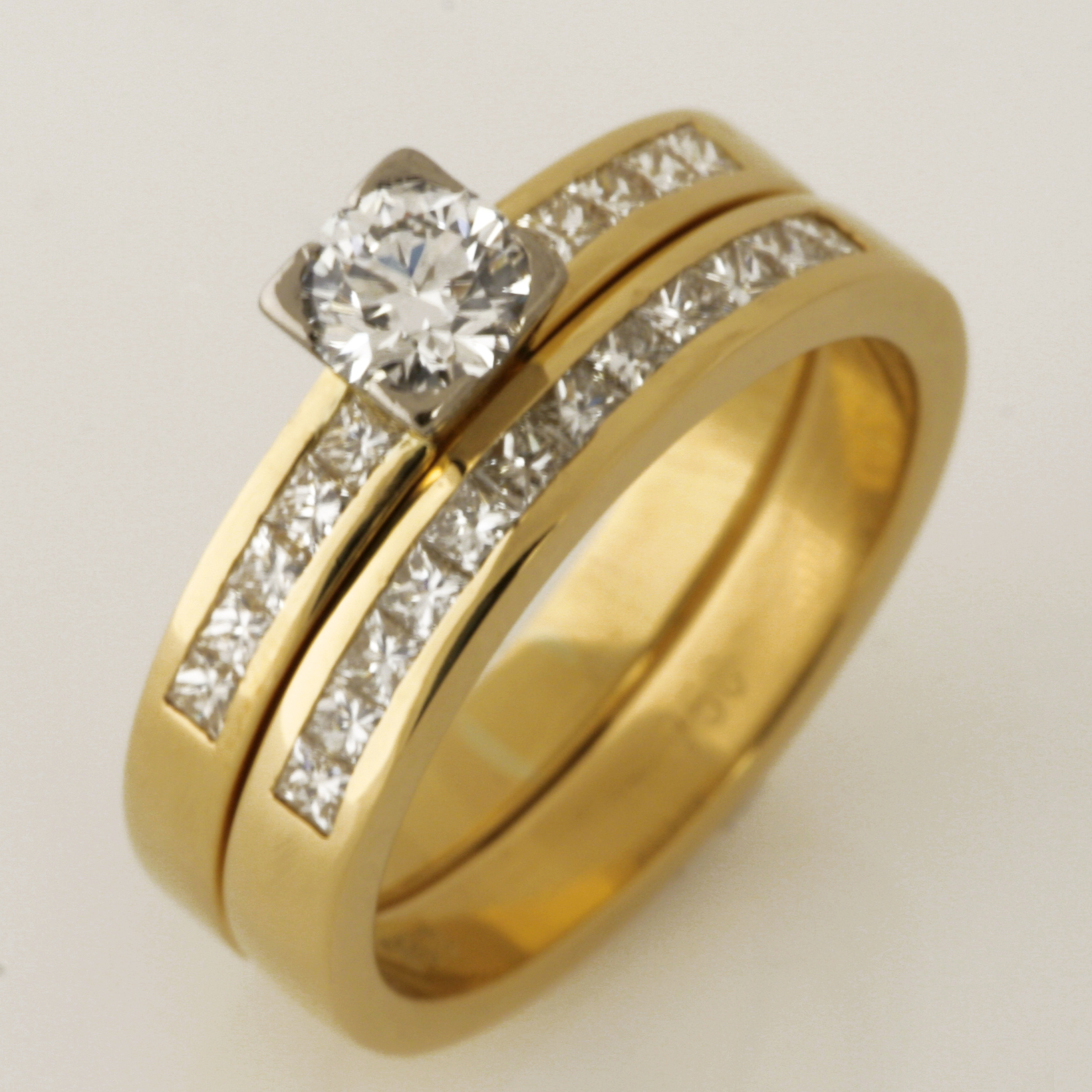 Handmade ladies 18ct yellow gold diamond wedding and engagement ring set
