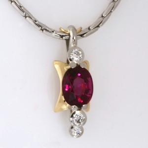 Handmade ladies palladium and 18ct yellow gold, purple tourmaline and diamond pendant featured on an 18ct white gold chain