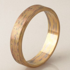 "R044 Handmade by Robert Paul. 18ct marbled gents wedding ring. Size ""W1/2"" $1700"