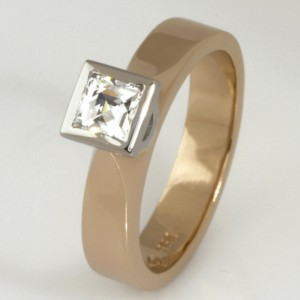 Handmade ladies 18ct peach gold and palladium 'Tycoon' cut diamond engagement ring