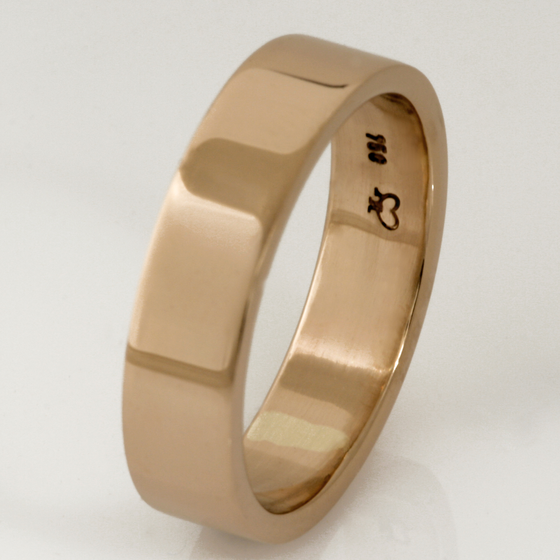 Handmade 18ct peach gold wedding ring