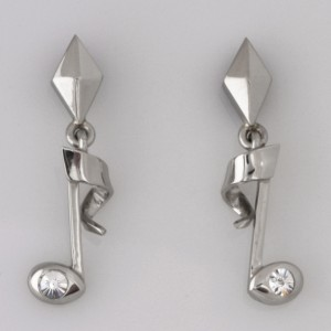 Handmade palladium and 'Spirit' cut diamond earrings