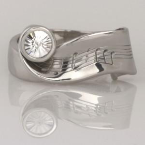 'Krysia's Never ending story' Handmade ladies palladium ring with a 'Spirit' cut diamond