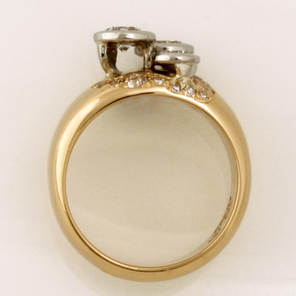 Handmade ladies 18ct yellow gold and palladium diamond ring