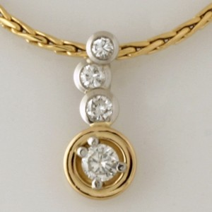 Handmade 18ct yellow gold and platinum diamond pendant