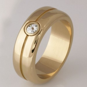 Handmade gents 18ct yellow gold 'Spirit' cut diamond wedding ring