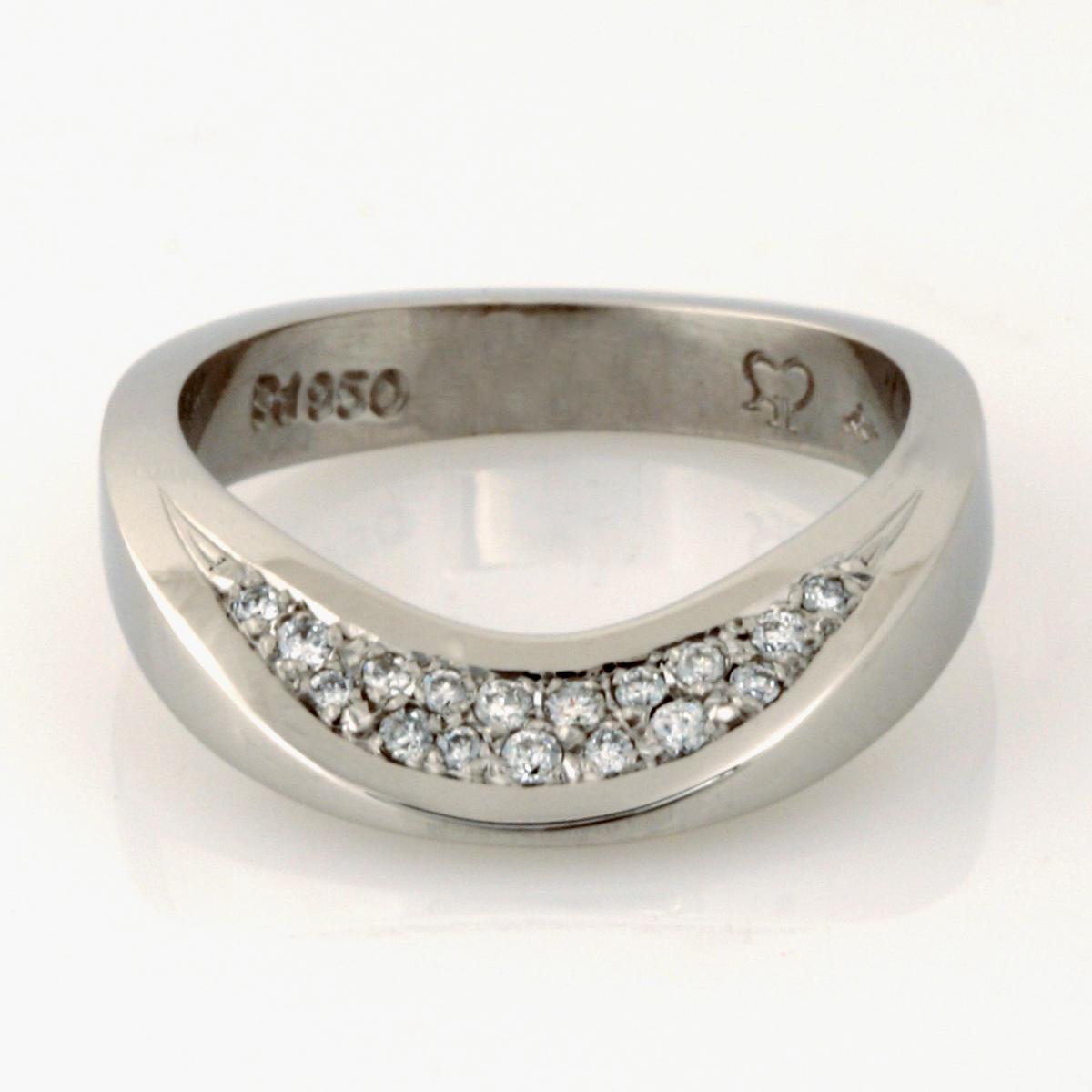 Handmade ladies palladium diamond wedding ring