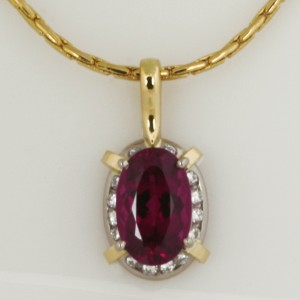 Handmade ladies 18ct yellow and white gold pink tourmaline and diamond pendant