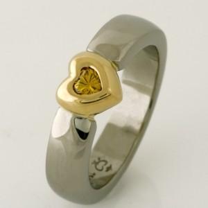 Handmade ladies 18ct white and yellow gold yellow heart shape diamond ring