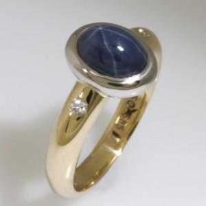 Handmade ladies 14ct yellow gold and palladium Star Sapphire and diamond ring
