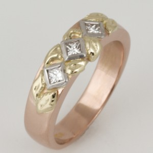 Handmade ladies 18ct yellow, rose and green gold diamond eternity ring