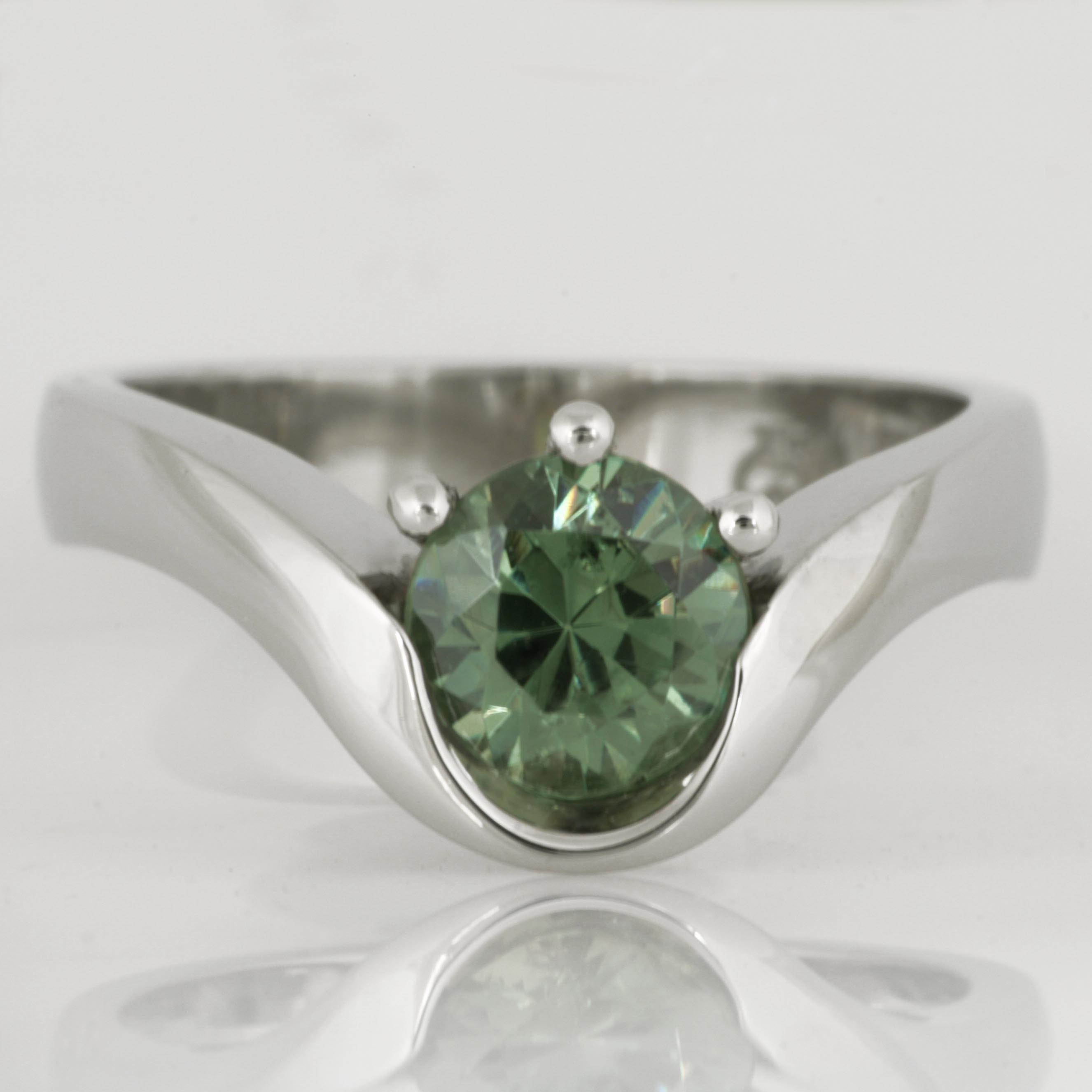 Handmade ladies palladium demantoid garnet engagement ring