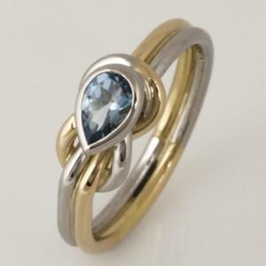Handmade ladies 18ct yellow gold and palladium aquamarine ring