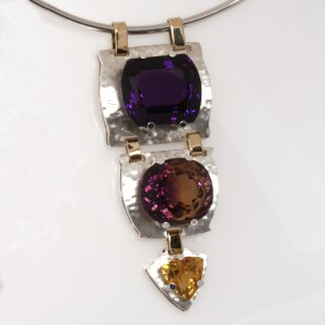 Handmade ladies sterling silver and 18ct yellow gold Amethyst, Ametrine and Citrine pendant