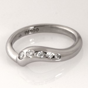 Handmade ladies palladium and diamond wedding ring
