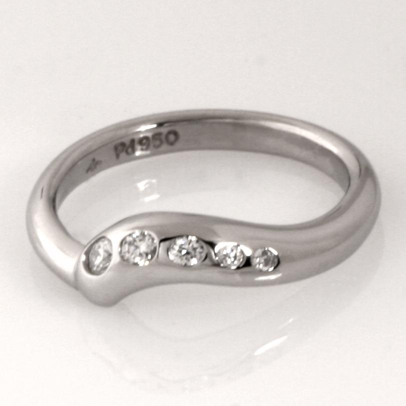 Handmade ladies palladium and diamond wedding ring