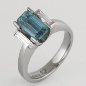 Handmade ladies palladium blue zircon and diamond ring