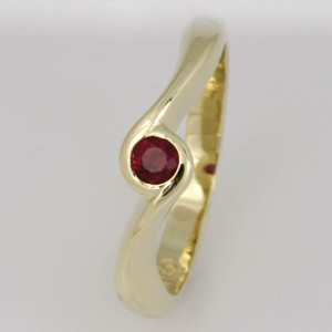 Handmade ladies 14ct yellow gold ruby ring.
