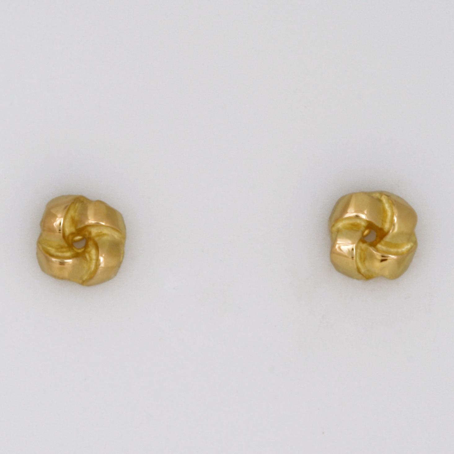 Handmade ladies 18ct yellow gold earrings