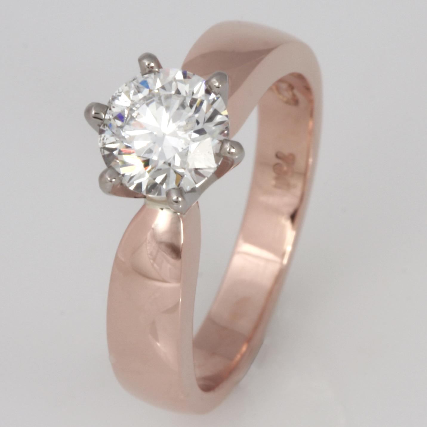 Handmade ladies 18ct rose gold diamond engagement ring