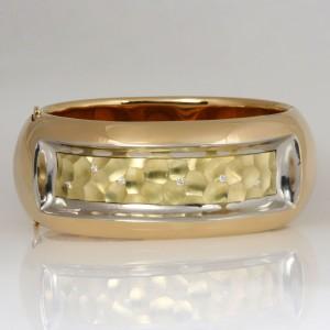Handmade ladies 18ct yellow gold, 18ct green gold and palladium diamond bangle