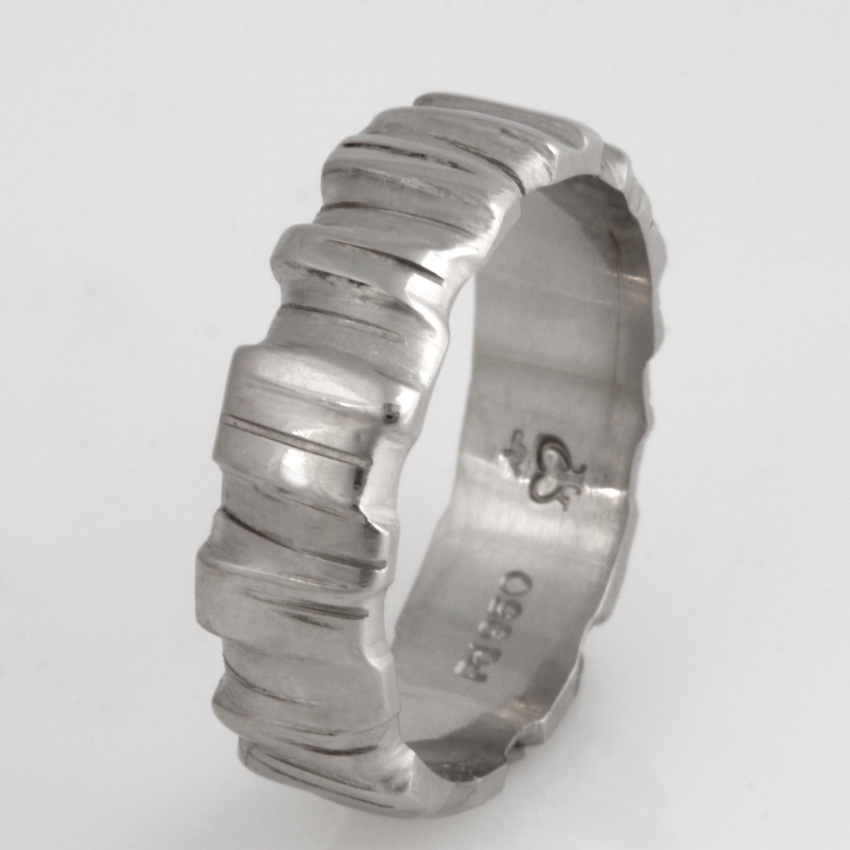 Handmade palladium wedding ring