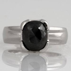 Handmade ladies platinum Black Diamond engagement ring