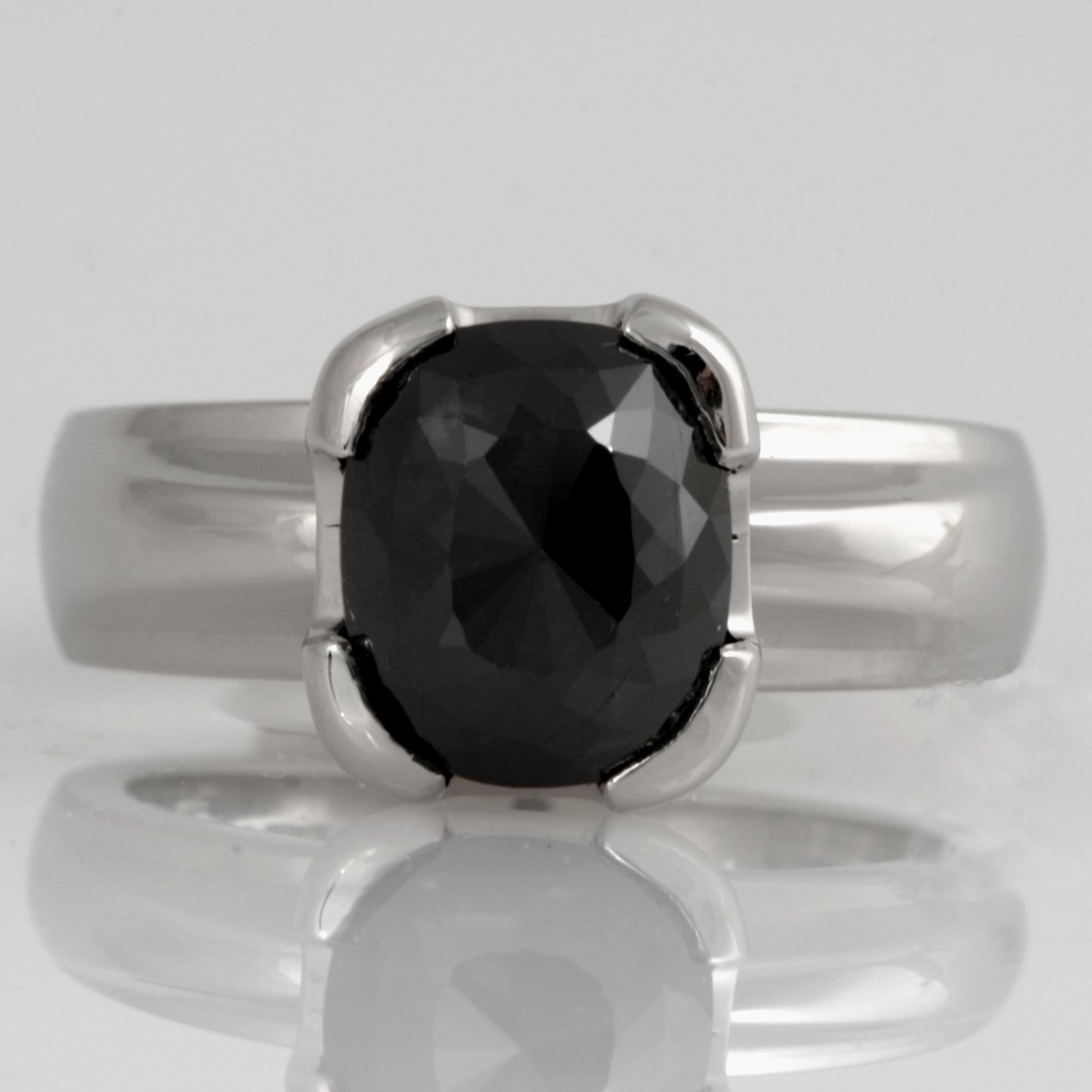 Handmade ladies platinum Black Diamond engagement ring