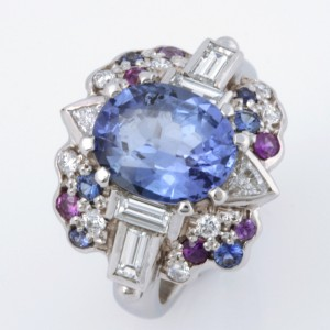 Handmade ladies Platinum ring featuring various coloured sapphires and white diamonds