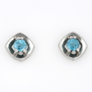 Ladies palladium Blue Zircon earrings