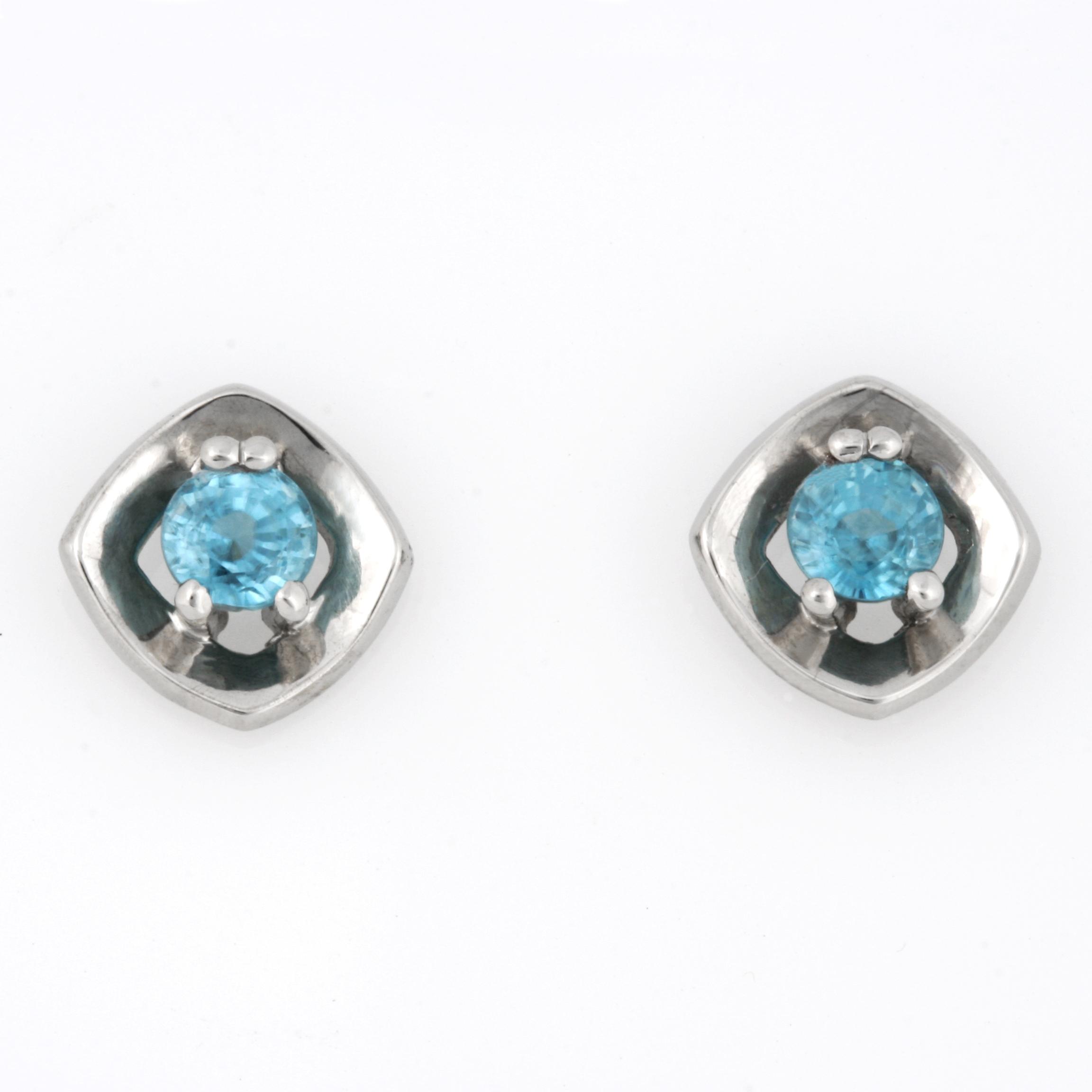 Ladies palladium Blue Zircon earrings