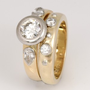 Handmade ladies 18ct yellow gold and palladium diamond wedding ring set