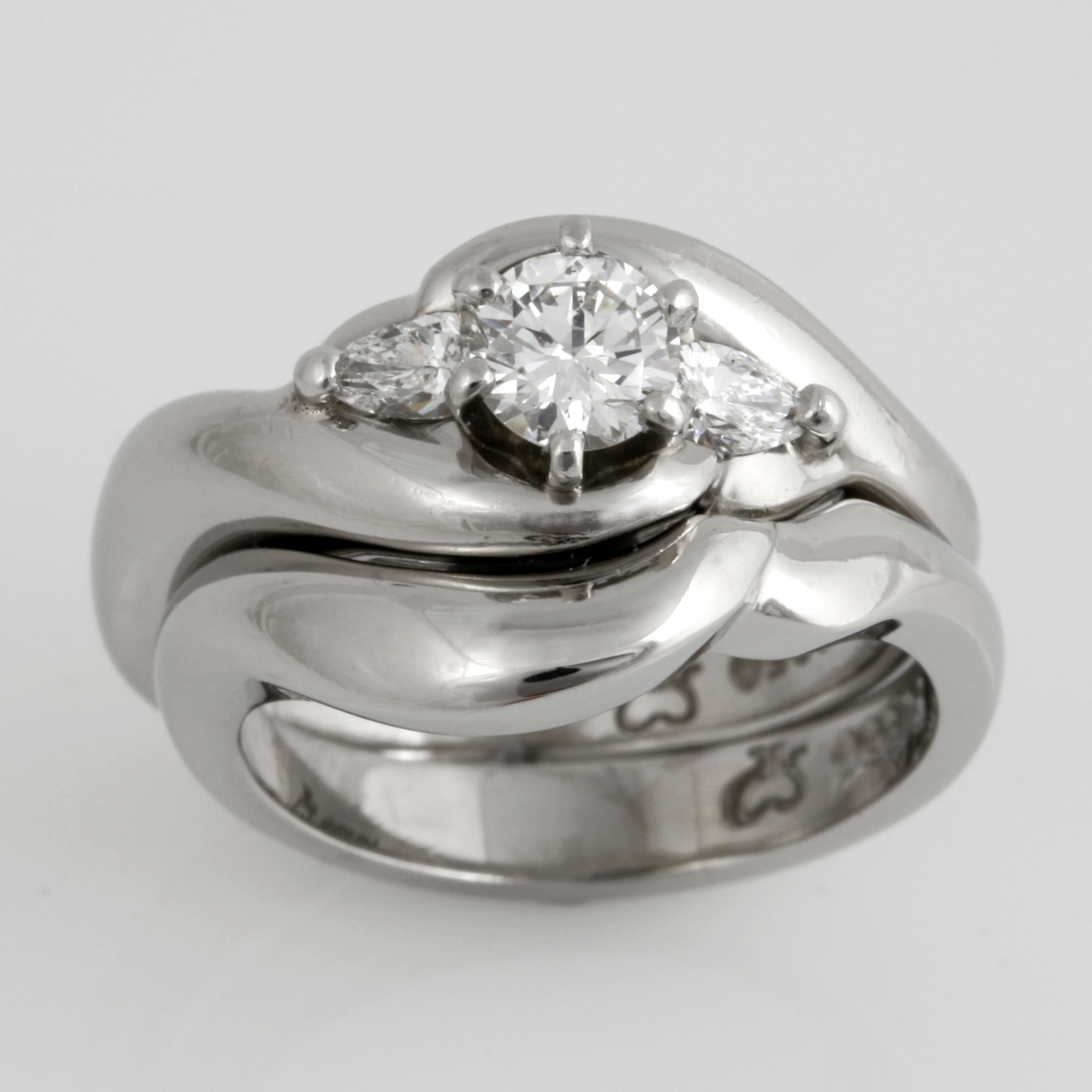 Handmade ladies palladium engagement and wedding ring set